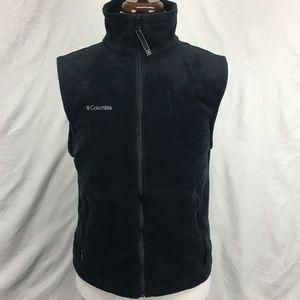 Columbia Black Full Zip Up Fleece Vest with Logo